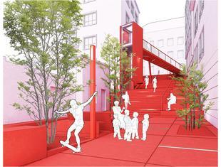 Czerwone schody w Krakowie